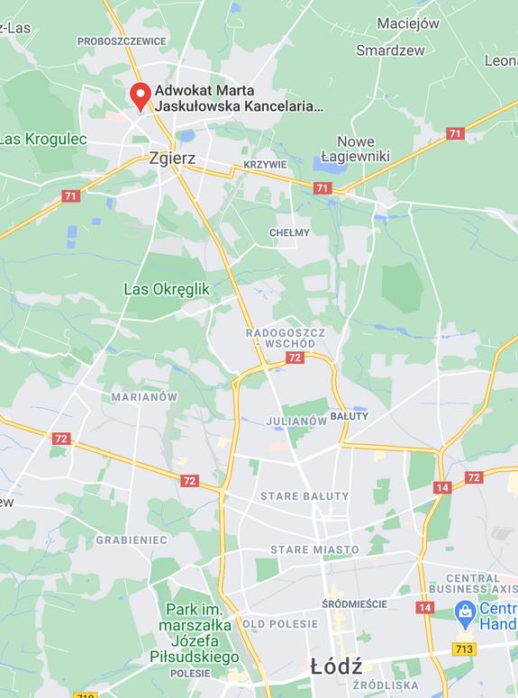 mapa lokalizacji kancelarii adwokackiej zgierz Łódż